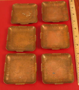 ANTIQUE SET ON 6 SIX HAND HAMMERED HAND ENGRAVED ARTS AND CRAFTS ASHTRAYS DISHES