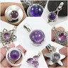 AMETHYST ROUND SHAPE HANDMADE BEAUTIFUL PENDANTS IN 925 SOLID STERLING SILVER