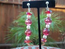 Gorgeous Red, White & Red/White Beaded Drop/Dangling Clip On Earrings