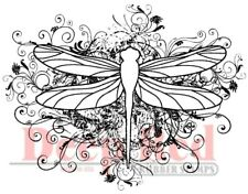 Deep Red Stamps Dragonfly Flourish Rubber Cling Stamp