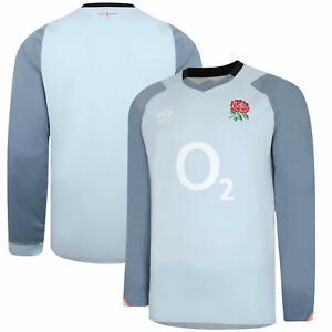 England Rugby Pro Relaxed Training Jersey Long Sleeve - Blue Fog - Mens
