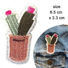 Cactus iron on patch prickly desert sting plant embroidery heat transfer patches