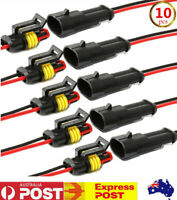 10Sets HID Car Waterproof Electrical Connector Plug  2 Pin Way 20AWG Wire AU
