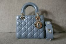 Sale! EUC Authentic My Lady Dior Cannage Small Lambskin Badges Bag Blue Gray