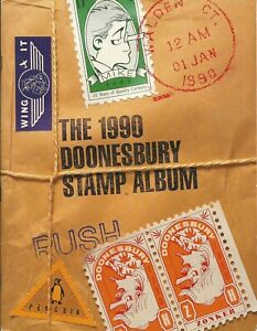 "Doonesbury 1990 ""Stamp Album""  book + Comic Strip labels"