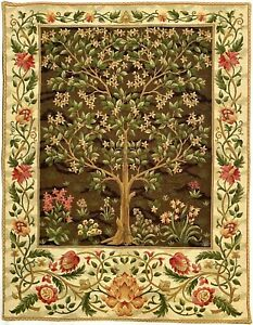 """57"""" X 36"""" WILLIAM MORRIS TREE OF LIFE LINED BELGIAN TAPESTRY WALL HANGING, 05000"""