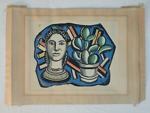 """VINTAGE FERNAND LEGER EMBOSSED STAMPED SERIGRAPH 499/1000 """"HEAD AND CACTUS"""""""