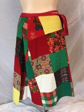 Vtg 1960s Patchwork Reversible Wraparound Skirt Floral Geometric Solid Pattern M