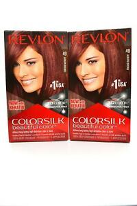 Revlon Colorsilk Hair Color Auburn Brown 49 Keratin Silk Amino Acid Set of 2