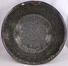 Chocolate Brown Graniteware Bowl White Specks Blue Large Vintage Country Kitchen
