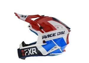 "FXR ""HELIUM RACE DIVISION"" SNOWMOBILE HELMET RED/WHITE/BLUE SIZE LARGE"