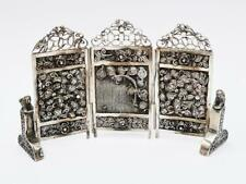 More details for fine chinese solid silver novelty miniature screen c1890
