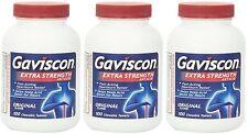 Gaviscon Extra Strength Chewable Antacid Tablets, Original 100 ea (3 Bottles)