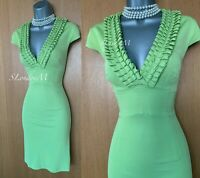 Karen Millen UK 10 Light Green Jersey Ruffle Plunge Cap Sleeve Wiggle Dress