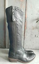 FRYE CARSON PIPING TALL BLACK LEATHER SIDE ZIP KNEE HIGH BOOTS WOMEN'S 7