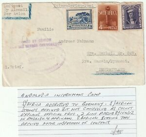 c.1940s WW2 SOUTH AFRICA ANDALUSIA INTERNMENT CAMP CACHET PASSED BY CENSOR