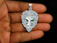 Solid 10K White Gold Finish 2.00 CT Round Diamond Lion Head Pendant Charm Piece.