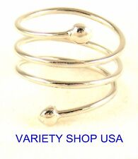 Alloy Ring Silver Spiral Adjustable R018S