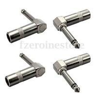 "4Pcs Connector - Jack Plug 6.3mm (1/4"") Right Angled Male MONO Guitar Leads Plug"