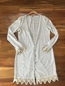 Free People L Light Crochet Lace Trim Light Knit Cardigan Sweater Long, Natural