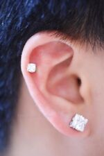 1 PAIR 8mm CZ CLEAR SQUARE MAGNETIC EARRINGS STUDS Men Women