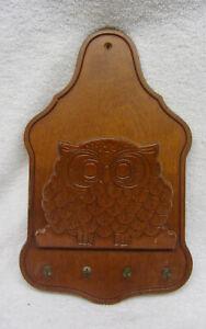 Vintage Wood Letter Holder Bill Organizer Wall Hanging Key Rack OWL