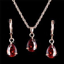 18K Rose Gold Filled Garnet Red Pear Shape Teardrop CZ Necklace & Earrings Set