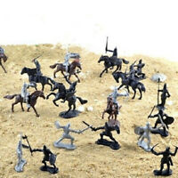 28Pcs/Set Soldier Knights Warriors Horses Medieval Model Action Figures Toy Mini