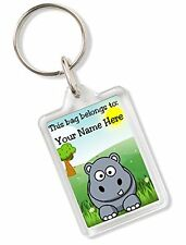 Personalised Kids Childs School Bag Tag Animal Keyring With Hippo AK78