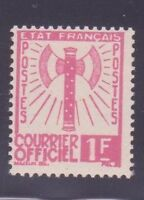 "FRANCE STAMP TIMBRE SERVICE N° 6 "" FRANCISQUE 1F ROSE 1943 "" NEUF xx TTB"