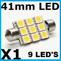 41mm LED 9 SMD HID Xenon White Festoon Bulb Interior Glove Box