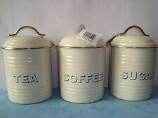 Set 3 Café Thé Crème Sucre Bocaux de stockage caddies pots émail par Leonardo