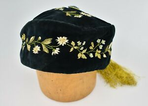 Antique Victorian Velvet Embroidered Tasseled Smoking Cap Daisies Forget-Me-Nots