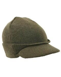 Thermal Acrylic Peaked Bob Hat, Black or Green Army Style Winter ECW Beanie Cap