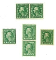 Scott 408, 412, 424, 486 - 1 Cent Washingtons Singles & Pairs MNH