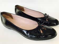 AMALFI Nordstrom ITALY Black Leather Slip On Low Heels Pumps Shoes Women's 8.5