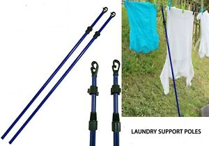 2.4M TELESCOPIC HEAVY DUTY LINE WASHING LINE PROP EXTENDING CLOTHES POLE SUPPORT
