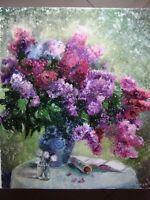 ORIGINAL OIL PAINTING LILAC BOUQUET FLOWERS ART BY ARTIST