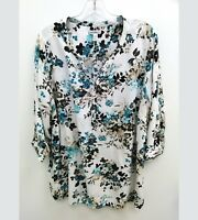 Croft Barrow Womens Plus Sz 2X Blouse Floral Multicolored 3/4 Sleeve V-Neck B18