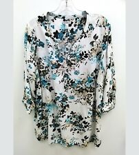 Croft Barrow Womens Plus Sz 2X Blouse Floral Multicolored 3/4 Sleeve V-Neck B18