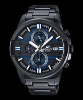 EFR-543BK-1A2 Schwarz Blau Casio Edifice Herren Analog Uhren 100M Stahlband Neu