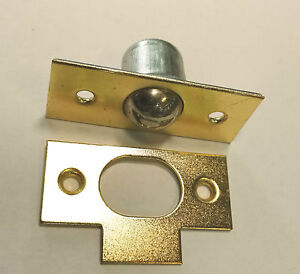 Large Brass Bales Catch Door/Cupboard rollerball Latch+Keep Plate, With Screws