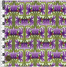 Quilting Fabric Fleur de Lis Style Green Columns Purple Flowers FQs 100% Cotton