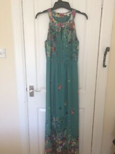 Ladies Uttam Boutique Green Floral Sleeveless Maxi Dress Size 14