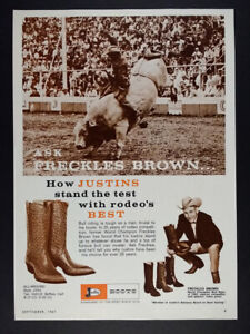 1967 Freckles Brown bull riding rodeo photo Justin Boots vintage print Ad