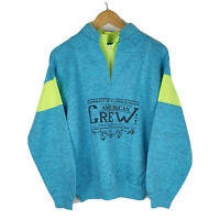Men's Aqua Blue 1/4 Quarter Zip Sweatshirt Retro Florida USA Jumper Lime Green S