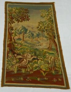 Antique French Hand Woven Verdure Aubusson Tapestry Wall Hanging Panel 169X107cm