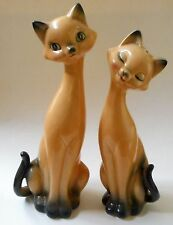 VINTAGE Tall Long Neck CATS Salt & Pepper Shakers Mid Century JAPAN 11-12""