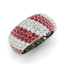 Round Cut 14K White Gold 1.32 Ct Natural Diamond Engagement Ruby Ring Size G
