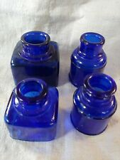 Antique Cobalt Blue Glass  Ink Bottles 4 Jars